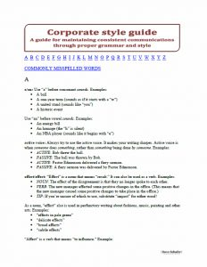 First page of free business writing style guide